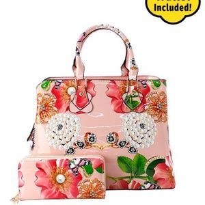 FABULOUS BLUSH FLORAL LEATHER 3 IN 1 HANDBAG SET!